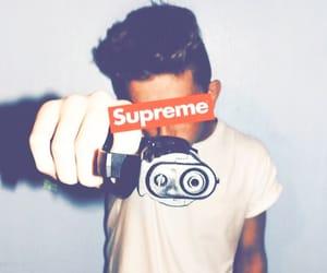 boy, supreme, and gun image