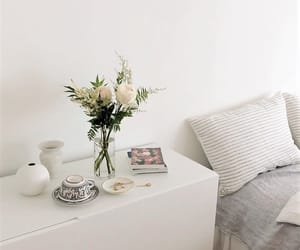 bed room, decoration, and floral image