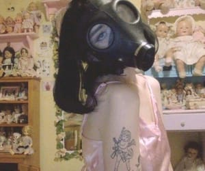 girl, gas mask, and goth image