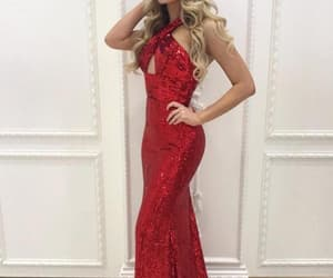 red prom dress, halter prom dress, and sequin prom dress image