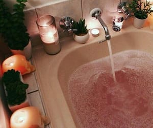 bathtub, candles, and pink image