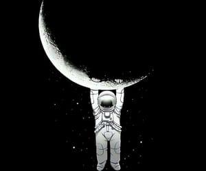 astronaut, luna, and universe image