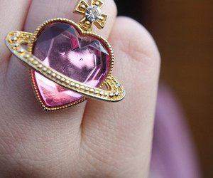 ring, heart, and pink image