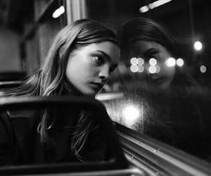 girl, sad, and bus image