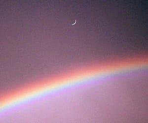 moon, pink, and rainbow image