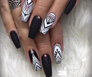black and white, nails, and nailart image