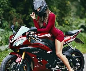 girl, motorcycle, and YAMAHA image