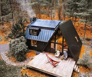 cabin, outdoors, and woods image
