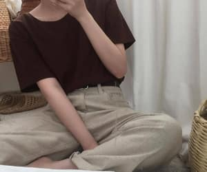 beige, korean, and outfit image