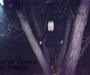 girl, dark, and tree image