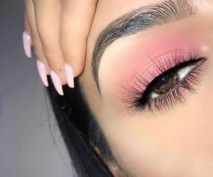 makeup, nails, and pink image
