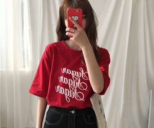 aesthetic, korean, and red image