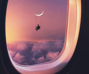 moon, sky, and plane image