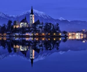 lights, reflections, and mountains image