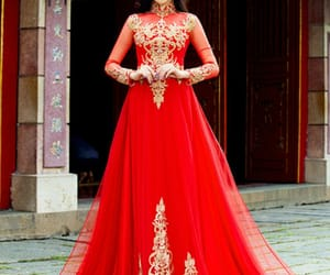 red, red dress, and traditional image