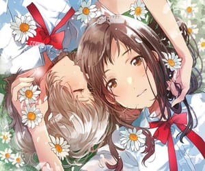 anime, flower, and girls image