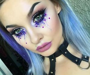 blue, makeup, and purple image