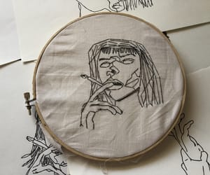 aesthetic, embroidery, and girl image