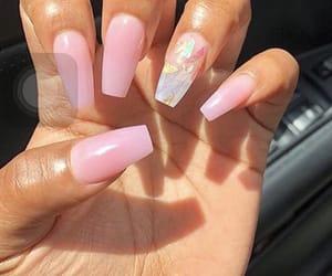 pink, pink nails, and nails image