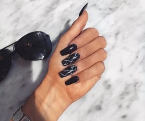 nails, black, and sunglasses image