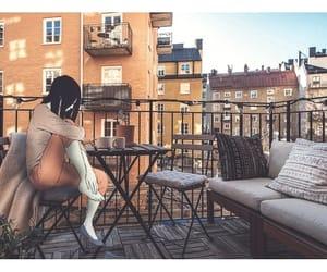anime, art, and balcony image