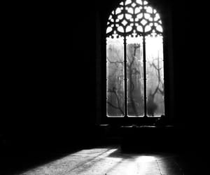 window, black and white, and dark image