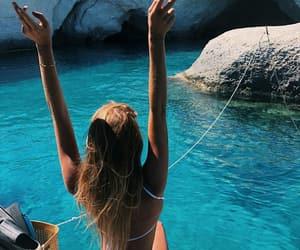 bikini, tanned skin, and blue image