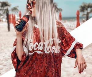beach, coca-cola, and girl image