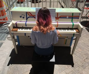 color, piano, and sunset image