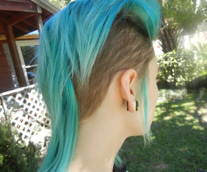 blue hair, hair, and girl image