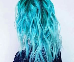 blue, dyed, and hair image