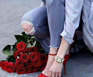 bouquet, jeans, and shirts image