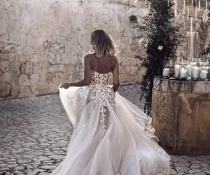 wedding dress, bride, and fashion image