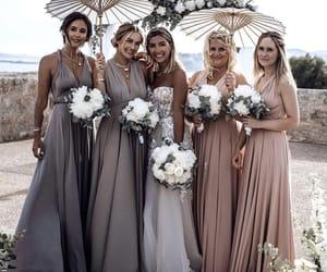 bouquet, bride, and bridesmaids image