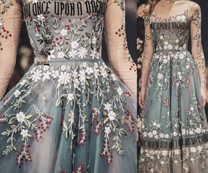 dress, embroidery, and fairytale image