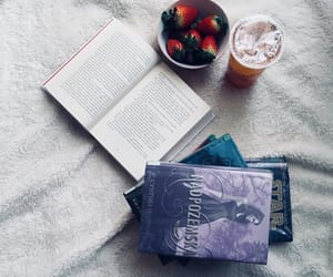 aesthetic, reading, and strawberries image