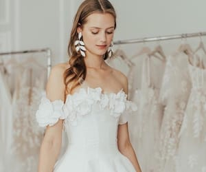 dress, earrings, and flowers image