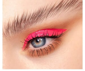 pink, artistic makeup, and blue eyes image