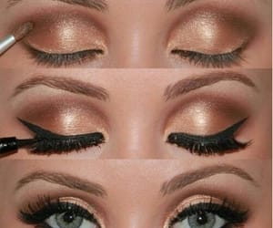 make up, eye shadow, and golden eyes image