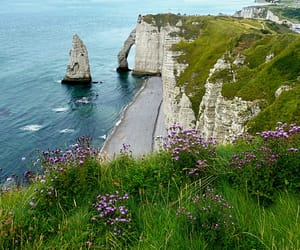 beach, cliff, and france image