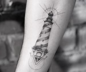 ink, tattoo, and lighthouse image
