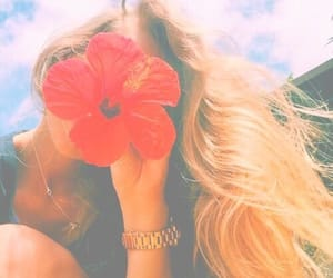 girl, flowers, and summer image