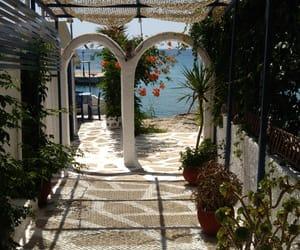 flowers, Greece, and greek island image