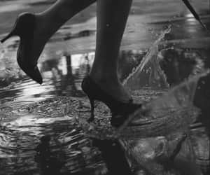 black and white, rain, and heels image