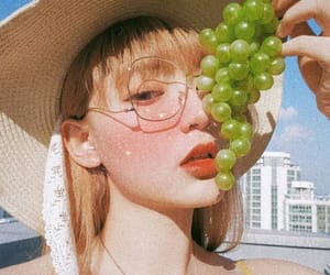 asian, girl, and grape image
