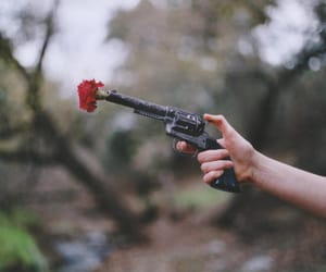 flower, gun, and red image