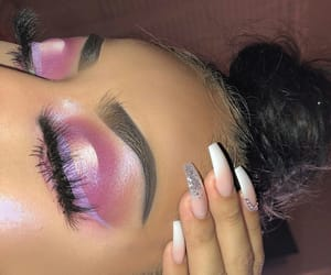 pink, eyebrow, and nails image