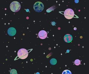 colorful, neon, and planets image