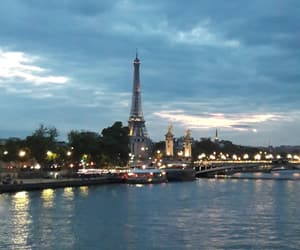 eiffel tower, night, and france image