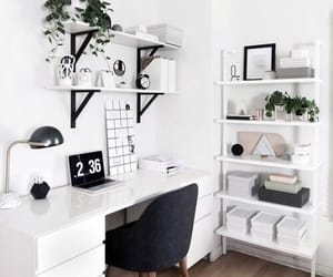 bedroom, desk, and white image